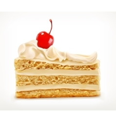 Piece of cake with cherry vector image