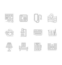 private clinic flat line icons set vector image