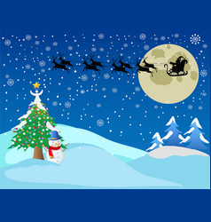 santa across the snow night vector image