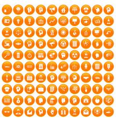 100 idea icons set orange vector