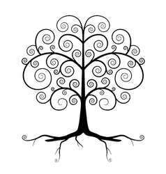 Abstract Black Tree vector image