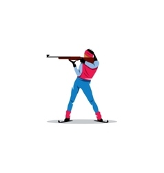 Biathlete sign Girl athlete at the ready to shoot vector image