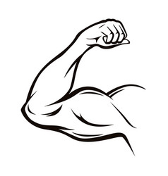 Black thin line strong arm vector