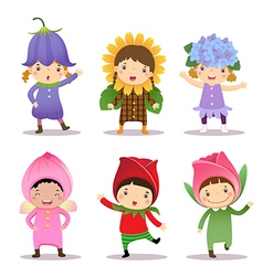 Cute kids wearing flowers costumes vector image