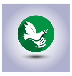 Eco icon sticker bird in hand vector image