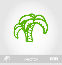 palm tree outline icon summer vacation vector image vector image
