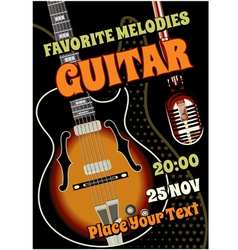 Rock concert design template with guitar vector image vector image