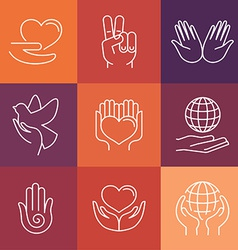 charity line logos and signs vector image