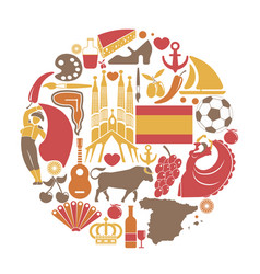 spain travel sightseeing icons and spanish vector image