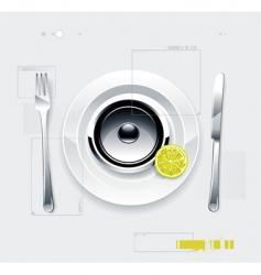 speaker on plate vector image vector image