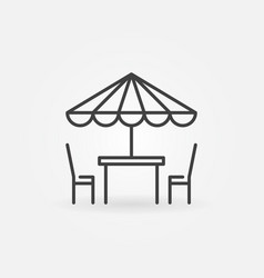 street cafe icon table and chairs line vector image vector image
