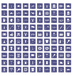 100 beer icons set grunge sapphire vector