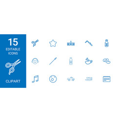 15 clipart icons vector image