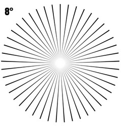 Abstract circular geometric burst rays on white vector