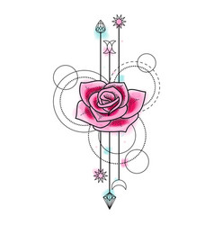 Abstract Watercolor Rose Tattoo vector image