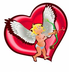 angel and heart vector image