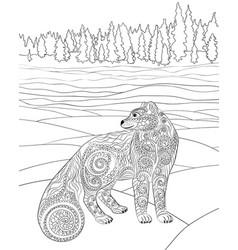 Arctic fox in the zentangle style vector