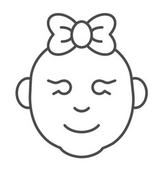 baby girl thin line icon little girl smiling face vector image