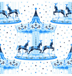Blue merry-go-round seamless pattern vector