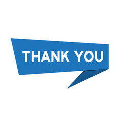 Blue paper speech banner with word thank you vector