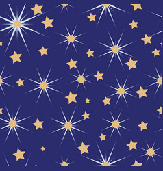 blue white and gold christmas stars seamless vector image
