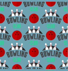 bowling emblem seamless pattern background vector image