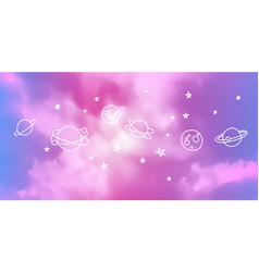 Bright blue sky background realistic clouds vector