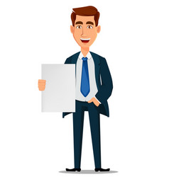 Business man in formal suit holding blank placard vector
