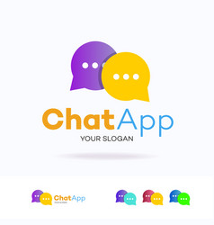 chat logotype flat style for community vector image