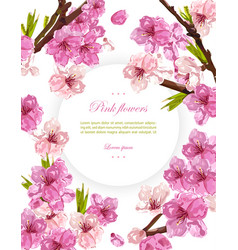Cherry flowers spring card backgrounds vector
