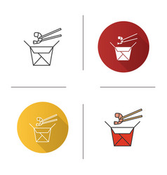 chinese noodles with seafood in paper box icon vector image
