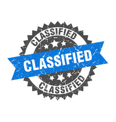 Classified grunge stamp with blue band classified vector