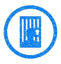Closed Prisoner Rounded Icon Rubber Stamp vector image