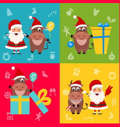 collection oxes characters and santa clauses vector image