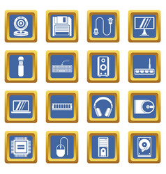 computer icons set blue vector image