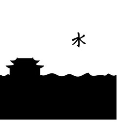 Confucian temple and symbol vector