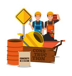 construction workers wooden board barrel mixer vector image