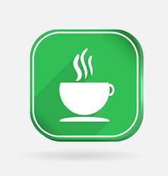 Cup of hot drink Color square icon vector