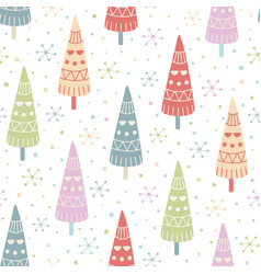 decorative christmas trees seamless pattern vector image