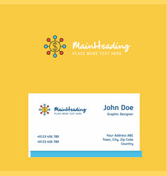 dollar network logo design with business card vector image