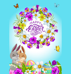 easter eggs bunnies and holiday flower wreath vector image