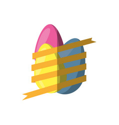 Easter eggs wrapped yellow ribbon shadow vector