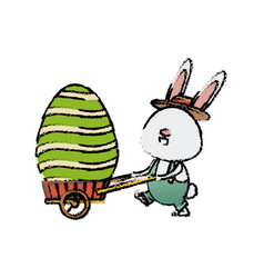 Easter rabbit with decor egg wheelbarrow vector