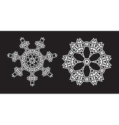 Ethnic Fractal Mandala looks like Snowflake or vector
