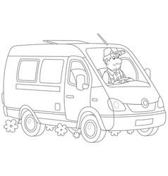 fast delivery van vector image