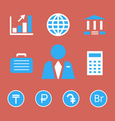 Finance and bank icons with currency symbols vector