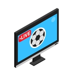 Football match on TV live stream isometric 3d icon vector image