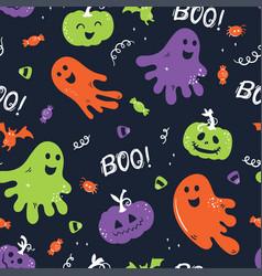 fun hand drawn halloween seamless pattern cute vector image