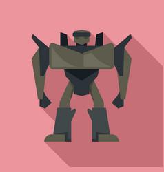 futuristic robot transformer icon flat style vector image