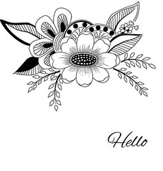Hand-drawn abstract flower with leaves on white vector image